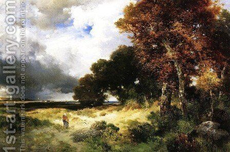 Autumn  Peconic Bay  Long Island by Thomas Moran - Reproduction Oil Painting