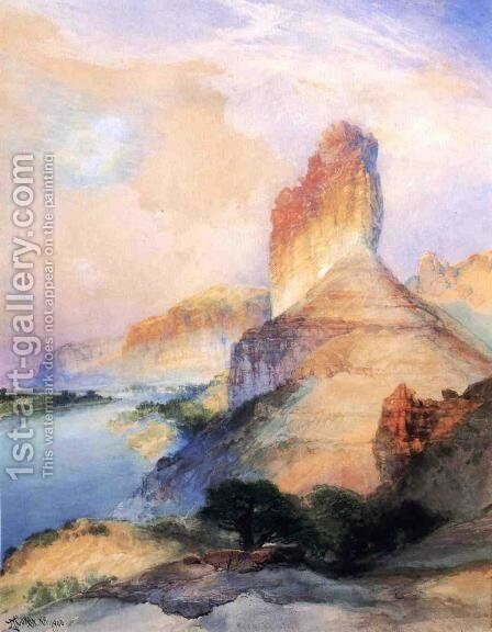 Castle Butte  Green River  Wyoming by Thomas Moran - Reproduction Oil Painting