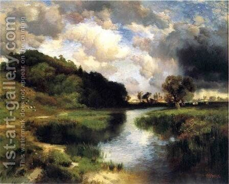 Cloudy Day At Amagansett by Thomas Moran - Reproduction Oil Painting