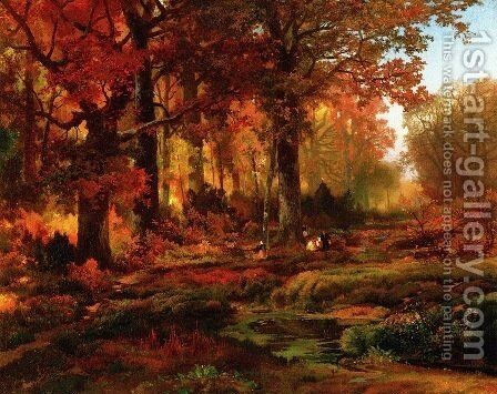 Cresheim Glen  Wissahickon  Autumn by Thomas Moran - Reproduction Oil Painting