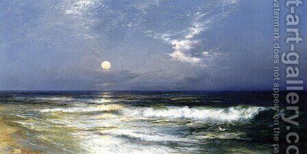 Moonlit Seascape2 by Thomas Moran - Reproduction Oil Painting