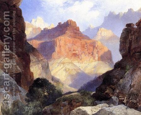 Under The Red Wall  Grand Canyon Of Arizona by Thomas Moran - Reproduction Oil Painting