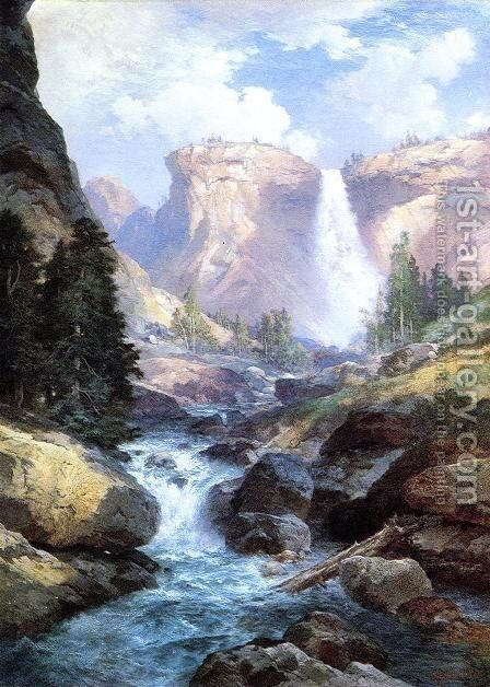 Waterfall In Yosemite by Thomas Moran - Reproduction Oil Painting