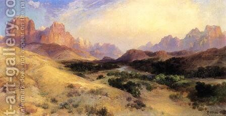 Zion Valley  South Utah by Thomas Moran - Reproduction Oil Painting