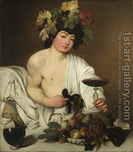 Bacchus c. 1596 by Caravaggio - Reproduction Oil Painting