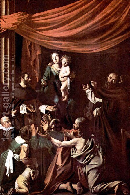 Madonna del Rosario 1607 by Caravaggio - Reproduction Oil Painting