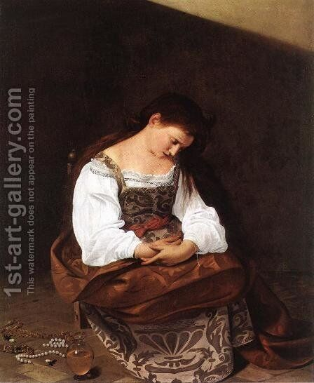 Magdalene 1596-97 by Caravaggio - Reproduction Oil Painting