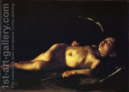Sleeping Cupid 1608 by Caravaggio - Reproduction Oil Painting