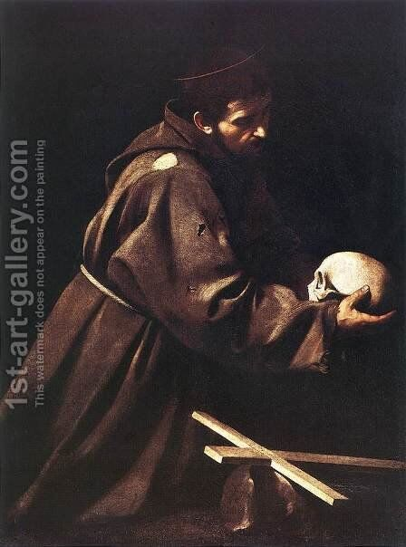 St. Francis c. 1606 by Caravaggio - Reproduction Oil Painting