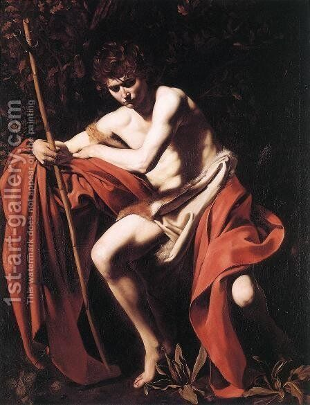 St. John the Baptist c. 1604 by Caravaggio - Reproduction Oil Painting