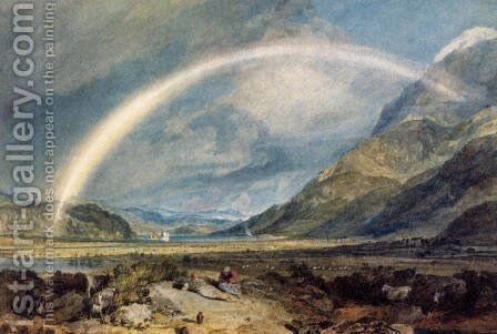 Kilchern Castle  With The Cruchan Ben Mountains  Scotland Noon by Turner - Reproduction Oil Painting