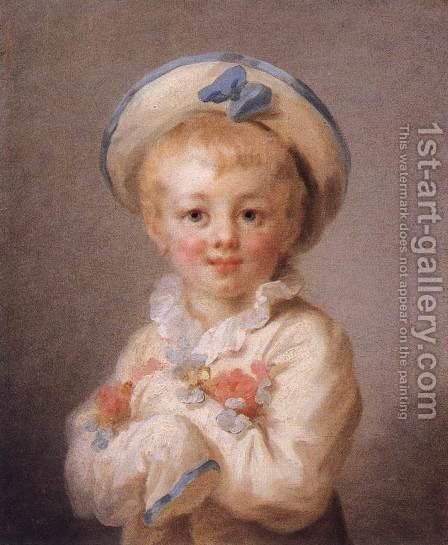 A Boy as Pierrot 1776-80 by Jean-Honore Fragonard - Reproduction Oil Painting