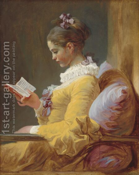 A Young Girl Reading c. 1776 by Jean-Honore Fragonard - Reproduction Oil Painting