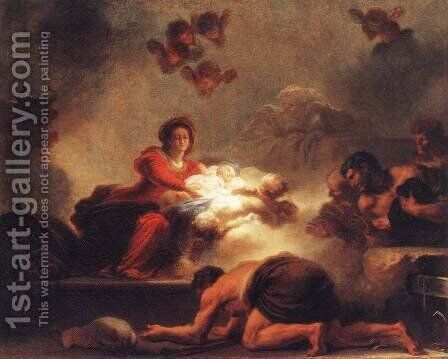 Adoration of the Shepherds c. 1775 by Jean-Honore Fragonard - Reproduction Oil Painting