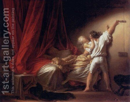 The Bolt (Le Verrou) c. 1778 by Jean-Honore Fragonard - Reproduction Oil Painting