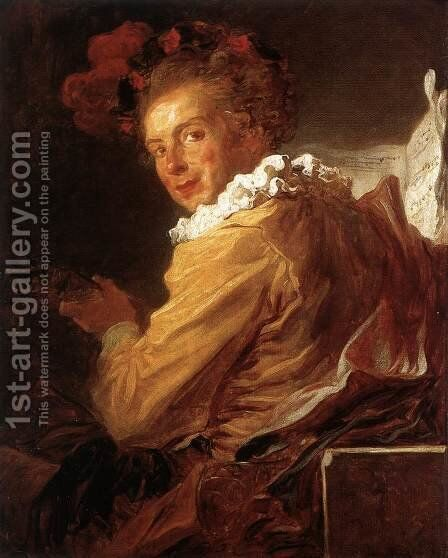 Man Playing An Instrument (The Music) (Monsieur de la Bretèche) 1769 by Jean-Honore Fragonard - Reproduction Oil Painting