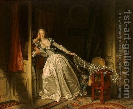 The Stolen Kiss (1) 1787-89 by Jean-Honore Fragonard - Reproduction Oil Painting