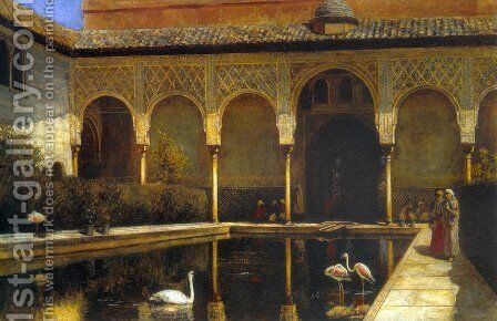 A Court In The Alhambra In The Time Of The Moors by Edwin Lord Weeks - Reproduction Oil Painting