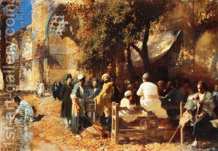 A Persian Cafe by Edwin Lord Weeks - Reproduction Oil Painting