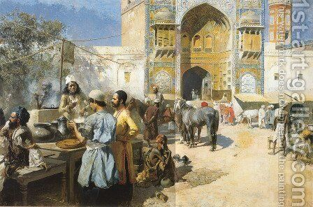 An Open Air Restaurant  Lahore by Edwin Lord Weeks - Reproduction Oil Painting