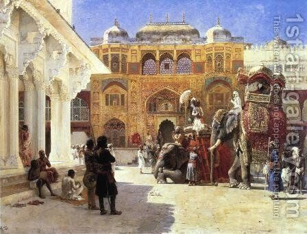 Arrival Of Prince Humbert  The Rajah  At The Palace Of Amber by Edwin Lord Weeks - Reproduction Oil Painting
