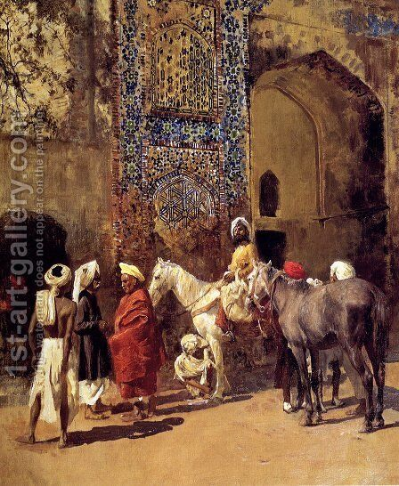Blue Tiled Mosque At Delhi  India by Edwin Lord Weeks - Reproduction Oil Painting