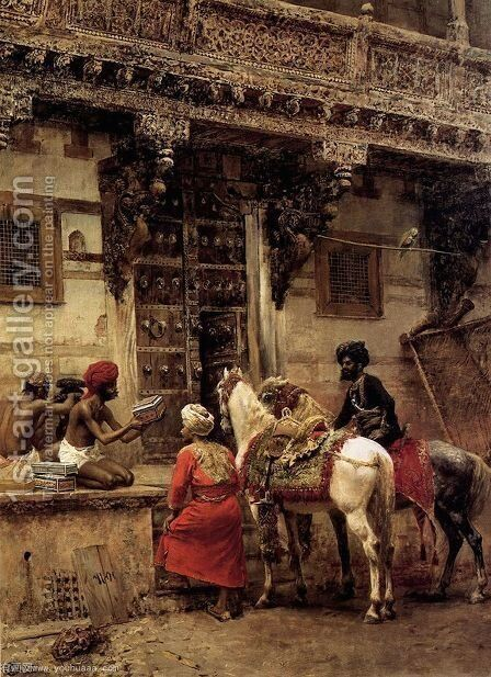 Craftsman Selling Cases By A Teak Wood Building  Ahmedabad by Edwin Lord Weeks - Reproduction Oil Painting