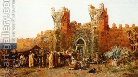 Gate Of Shehal  Morocco by Edwin Lord Weeks - Reproduction Oil Painting