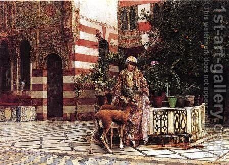 Girl In A Moorish Courtyard by Edwin Lord Weeks - Reproduction Oil Painting