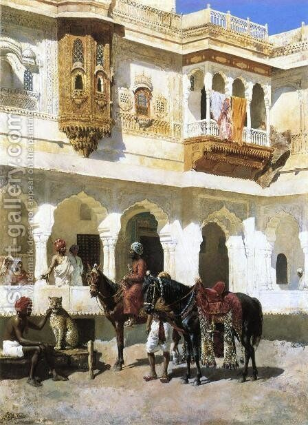Leaving For The Hunt by Edwin Lord Weeks - Reproduction Oil Painting