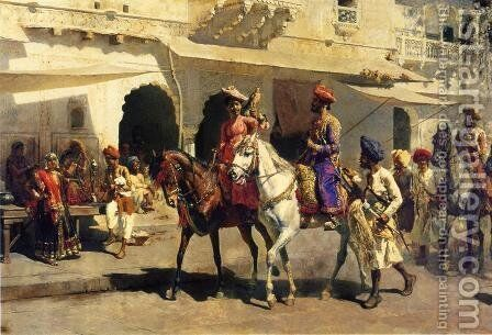 Leaving For The Hunt At Gwalior by Edwin Lord Weeks - Reproduction Oil Painting