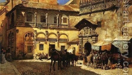 Market Square In Front Of The Sacristy And Doorway Of The Cathedral  Granada by Edwin Lord Weeks - Reproduction Oil Painting