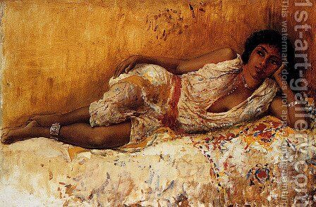 Moorish Girl Lying On A Couch  Rabat  Morocco by Edwin Lord Weeks - Reproduction Oil Painting