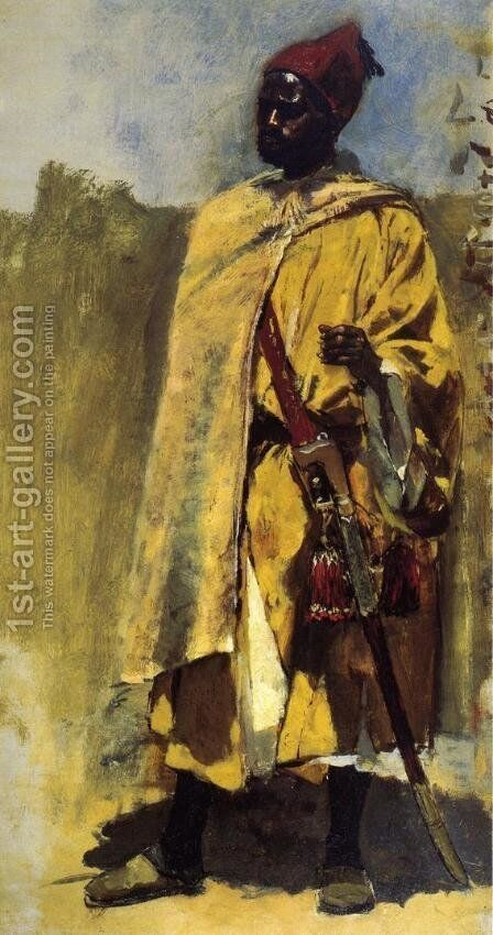 Moorish Guard by Edwin Lord Weeks - Reproduction Oil Painting