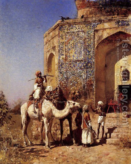 Old Blue Tiled Mosque  Outside Of Delhi  India by Edwin Lord Weeks - Reproduction Oil Painting