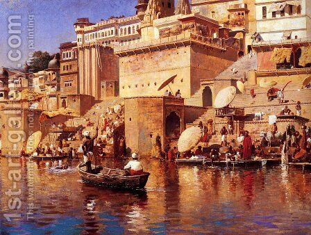 On The River Benares by Edwin Lord Weeks - Reproduction Oil Painting