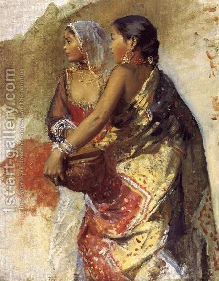 Sketch   Two Nautch Girls by Edwin Lord Weeks - Reproduction Oil Painting