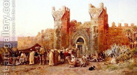 The Departure Of A Caravan From The Gate Of Shelah  Morocco by Edwin Lord Weeks - Reproduction Oil Painting