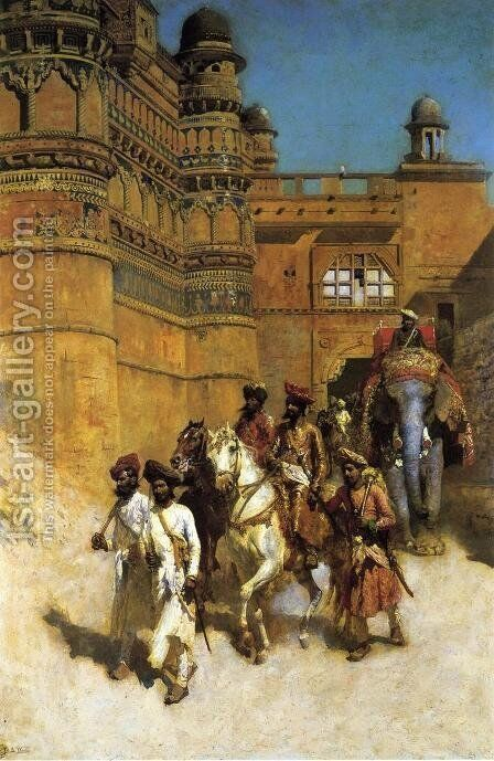 The Maharahaj Of Gwalior Before His Palace by Edwin Lord Weeks - Reproduction Oil Painting