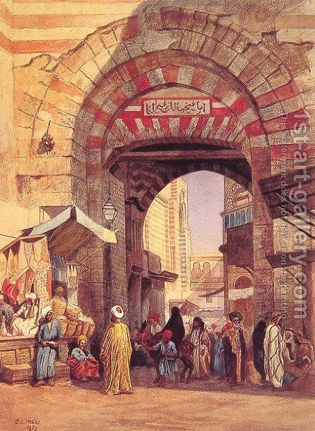 The Moorish Bazaar by Edwin Lord Weeks - Reproduction Oil Painting