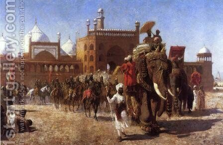 The Return Of The Imperial Court From The Great Nosque At Delhi  In The Reign Of Shah Jehan by Edwin Lord Weeks - Reproduction Oil Painting
