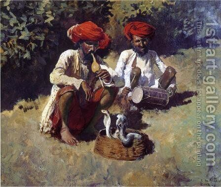 The Snake Charmers  Bombay by Edwin Lord Weeks - Reproduction Oil Painting