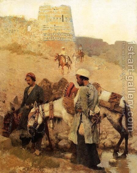 Traveling In Persia by Edwin Lord Weeks - Reproduction Oil Painting