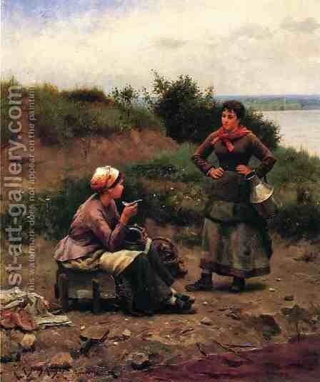 A Discussion Between Two Young Ladies by Daniel Ridgway Knight - Reproduction Oil Painting