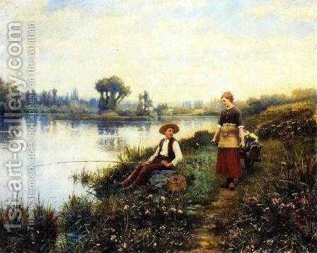 A Passing Conversation by Daniel Ridgway Knight - Reproduction Oil Painting