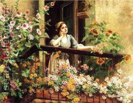 A Pensive Moment by Daniel Ridgway Knight - Reproduction Oil Painting
