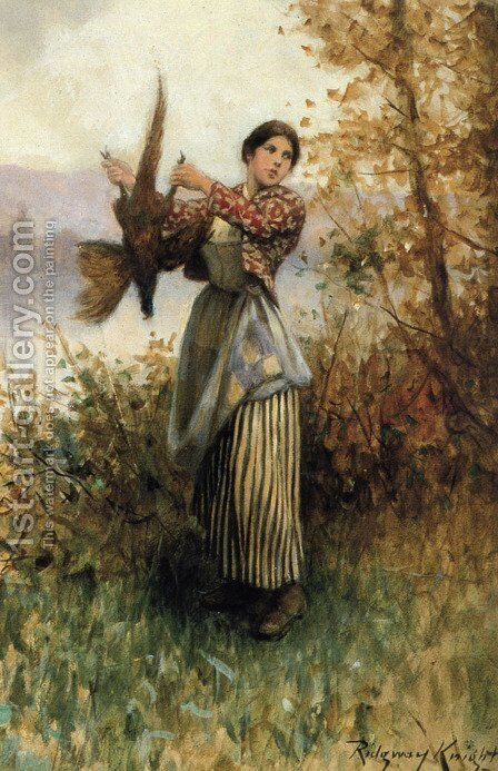 A Pheasant In Hand by Daniel Ridgway Knight - Reproduction Oil Painting