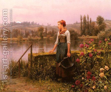 A Woman With A Watering Can By The River by Daniel Ridgway Knight - Reproduction Oil Painting