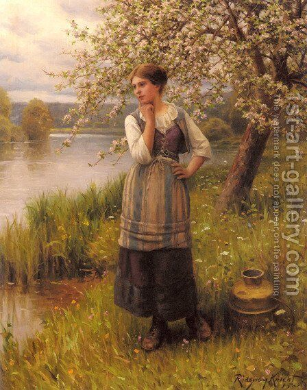 Beneath The Apple Tree by Daniel Ridgway Knight - Reproduction Oil Painting