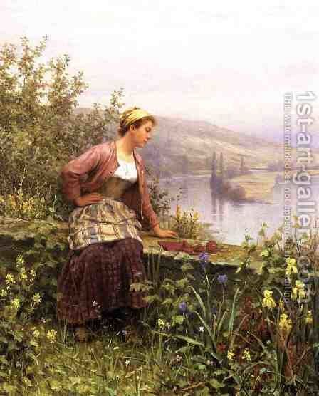 Brittany Girl Overlooking Stream by Daniel Ridgway Knight - Reproduction Oil Painting